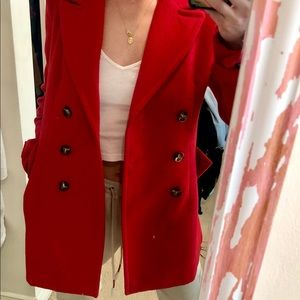 Red pea coat from Forever 21